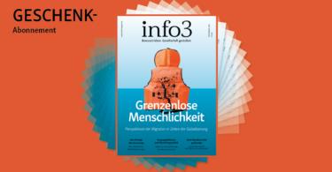 Geschenk-Abo der Zeitschrift Info3. © Info3 Verlag, Janka Fischer 2018
