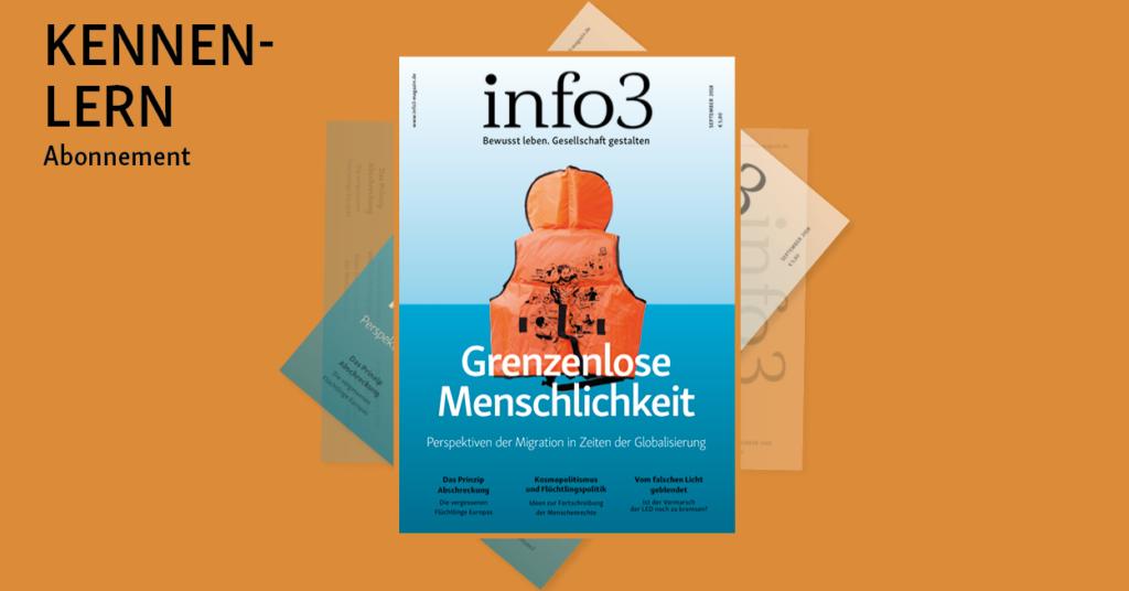 Kennenlern-Abo der Zeitschrift Info3. © Info3 Verlag, Janka Fischer 2018
