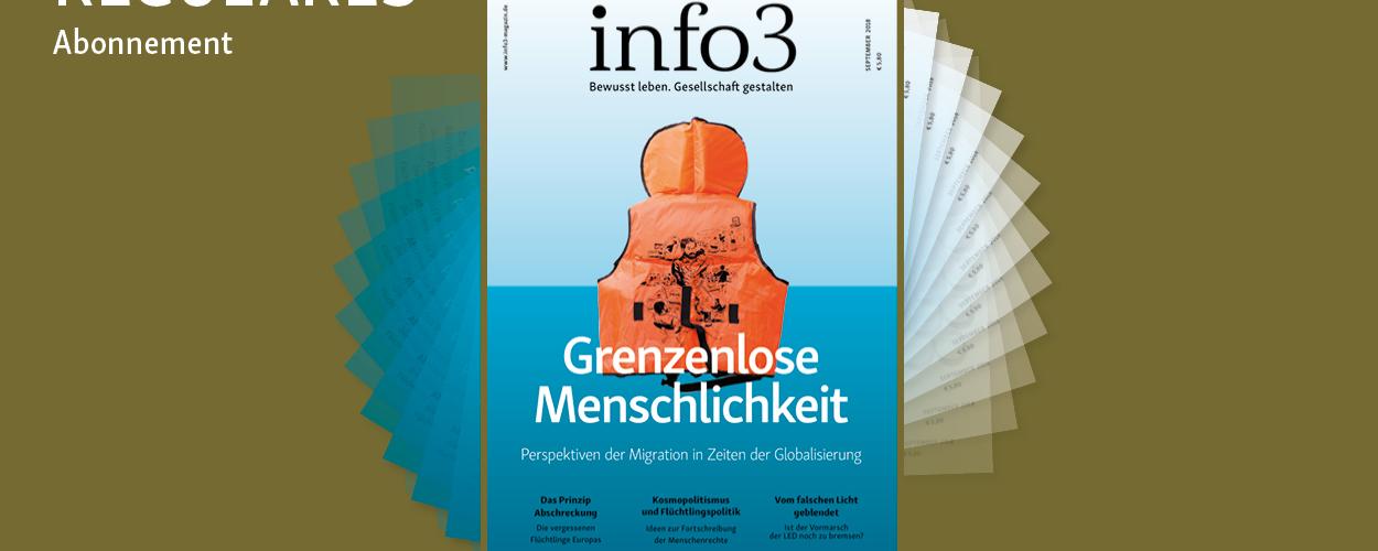 Reguläres Abo der Zeitschrift Info3. © Info3 Verlag, Janka Fischer 2018