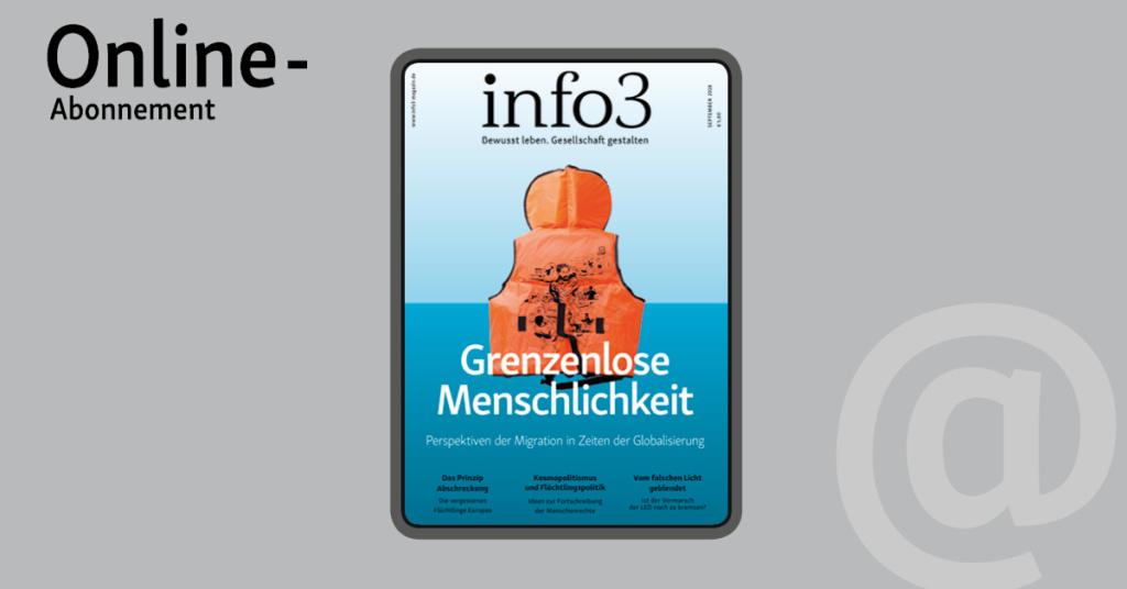 Online-Abo der Zeitschrift Info3. © Info3 Verlag, Janka Fischer 2018